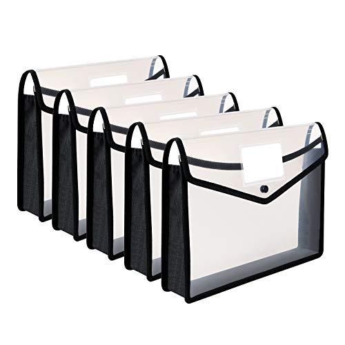 Plastic Wallet Folder Poly Pockets Envelope,A4 /Letter Size,5 Pack File Folders Button Closure, Waterproof Transparent Document Organization Bag ,Expandable Premium File Pouch for School Office Home