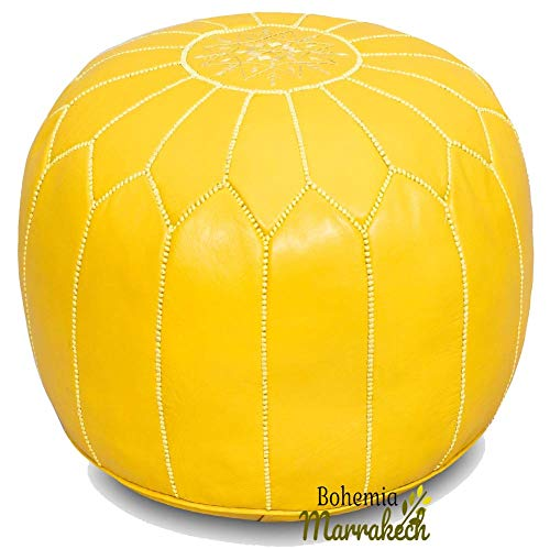 bohemiamarrakech Leather Pouf, Ottoman Footstool Hassock 100% Real Natural Leather pouffe, Yellow Color, Unstuffed - UNSTFED
