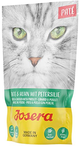 JOSERA Paté Ente & Huhn mit Petersilie (16 x 85 g) | getreidefreies Katzenfutter mit Lachsöl | Super Premium Nassfutter für ausgewachsene Katzen | 16er Pack