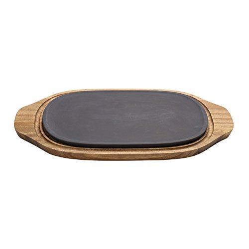 Villeroy und Boch BBQ Passion Kühl- und Wärmeplatte / Funktionale Platte aus Porzellan und Akazienholz / 31,5 x 21 x 2 cm