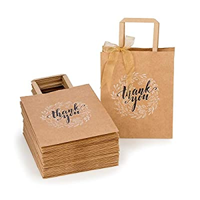 Premium Bulk Brown Kraft Paper Bags with Handles for Shopping, Gifts, Parties, Retail Merchandise, Wedding, Craft | Set of 50 pcs/pack, Medium Size 8x4.75x10 inches, Includes Thank You Tags and String
