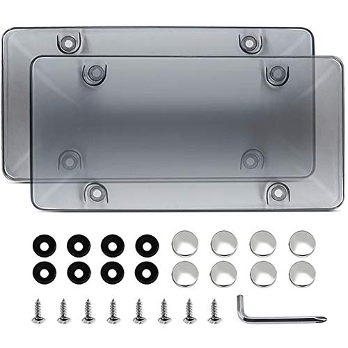 ZELEMO 2-Pack Smoked License Plate Cover Shields with Screws Caps,Protect Your Front & Back License Plates.
