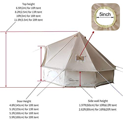 DANCHEL OUTDOOR 4M Cotton Canvas Bell Tent with Two Stove Jackets for Glamping(Top and Wall), 13ft