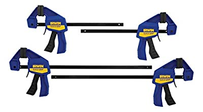 IRWIN QUICK-GRIP Bar Clamp, One-Handed, Mini, 6-Inch (2), 12-Inch (2), 4-Pack (1964748) from Newell Brands