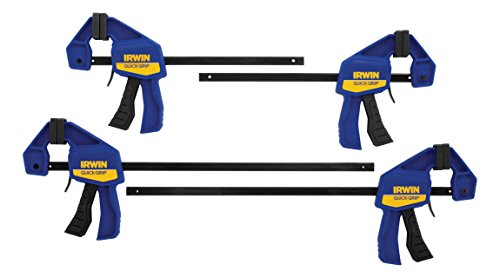 IRWIN QUICK-GRIP Bar Clamp, One-Handed, Mini, 6-Inch (2), 12-Inch (2), 4-Pack (1964748)