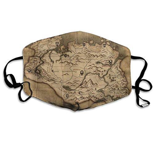 Breathable Anti Haze Bandana Cover with Adjustable Earloop, Warm Windproof Reusable Washable Half Face Cover, The Old Map in Game Province of Skyrim