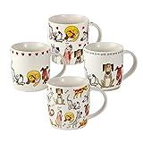 Juego Tazas de Café, Tazas Desayuno Originales de Té Café, Porcelana con Diseño de Perros, 4 Piezas - Regalos para Amantes de los Perro Mujeres y Hombres