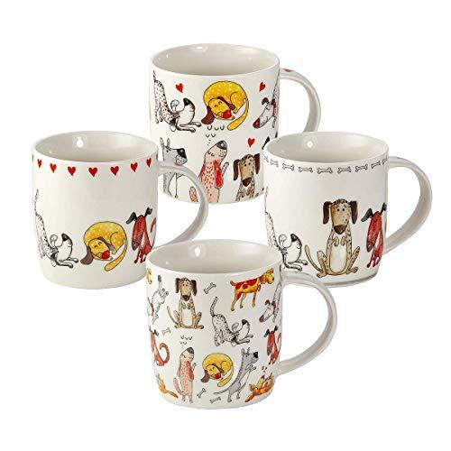 Tazze Cane - Set 4 Tazze da Colazione Grandi per Caffé e Té, Porcellana con Cani e Cuori, Animale Regalo per Donna Uomo e Amante dei Cane