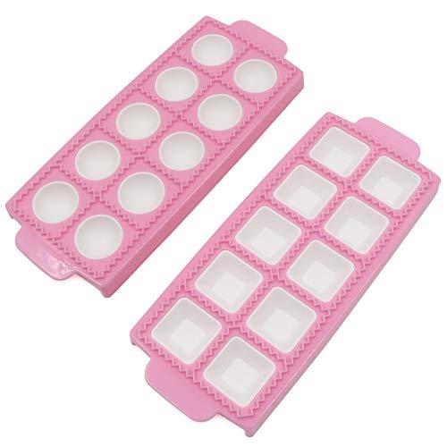 Cortador de raviolis, juego de 2 herramientas para hacer bolas, raviolis con 10 rejillas, bandeja para ravioli, bolas, pasta (rosa, 26,5 x 10,5 x 2 cm)