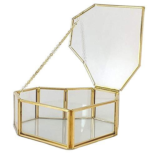 Cxssxling - Joyero para mujer, diseño geométrico en forma de corazón con borde dorado, cristal