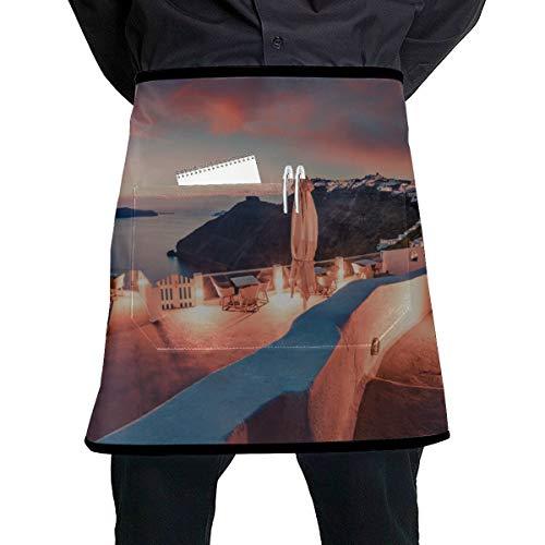 JINCAII Herren Taillenschürze Beeindruckende Abendansicht von Santorini Kinder Taillenschürze mit großer Tasche Unisex für die Küche Handwerk Grill Zeichnung
