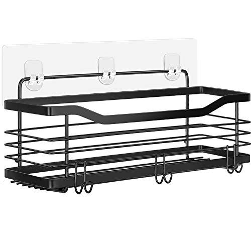 Oriware Adhesivo Negro Estantes Cesta para Ducha Estanteria Organizador Baño SUS304 Acero Inoxidable Sin Taladro - 31 x 11.5 x 12 cm