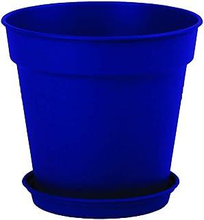 وعاء زرع بلاستيك بالطبق من مينترا، 13سم، عبوة 4، أزرق غامق