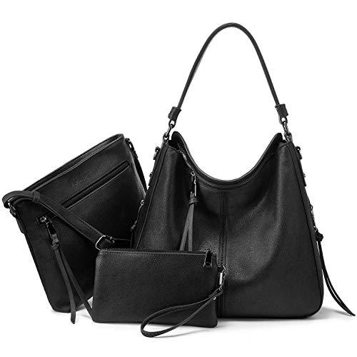 Realer Damen Handtaschen Groß Shopper Lederhandtasche Schultertasche Umhängetasche Geldbörse Hobo Damen Taschen Set für Büro Schule Einkauf Reise 3pcs Schwarz