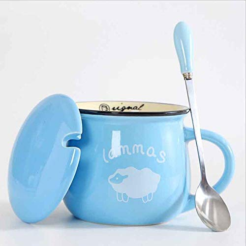xingfuankang Keramikbecher Kreative Süße Farbe Vintage Löffel Mit Deckel Einfach Big Belly Mug Frühstückstassen Milch Kaffeetassen Teetasse-Azul_Cielo