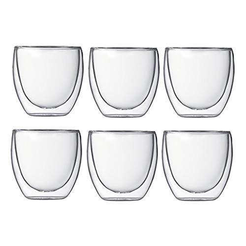 WWWL Taza café 6 Piezas Multi-Use 80ml Glass Doble Pared Aislado Vaso de Té Espresso con Doble Pared