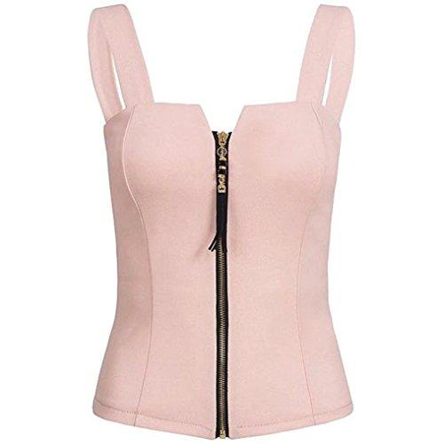 OSYARD Damen Sommer Sexy Mode ärmellos Camisole Tank Tops Mit Zipper T-Shirt