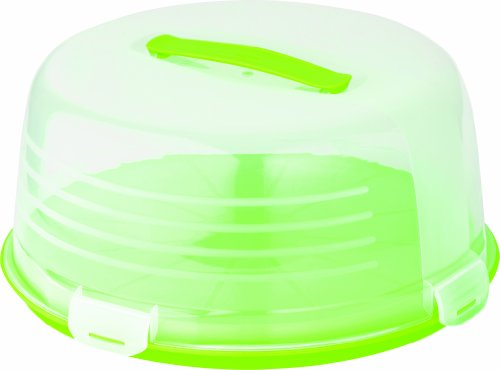 Curver Cake box rond in transparant/groen, 35 x 35 x 15 cm