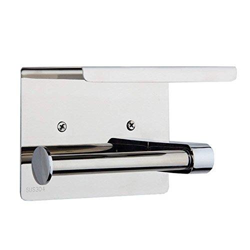 Aothpher Edelstahl Toilettenpapierhalter Rollenhalter WC-Papierhalter mit Ablage, zur Wandmontage, Silber Einzelhalter …