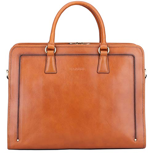 Banuce Womens Leather Briefcase Business 14 Inch Laptop Bags Attach Case Satchel Shoulder Bag (Used-Like New)