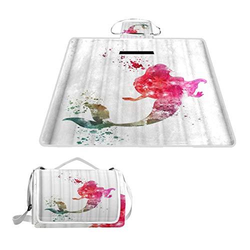 XINGAKA Couverture de Pique-Nique,Sirène Aquarelle colorée Art Abstrait Illustration Unique,Tapis Idéale pour Plage Jardin Parc Camping