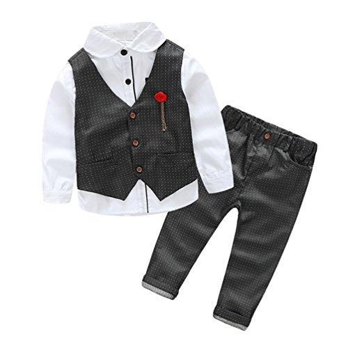 Heheja Bambino Ragazzo Camicia di Manica Lunga & Gentiluomo Tuta & Elegante Colore Solido Pantaloni 3 Pezzi Suit