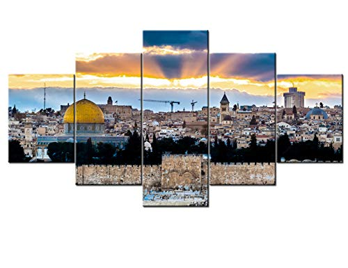 Islamic Wall Art Decor Dome of the Rock Paintings Jerusalem Pictures 5 Panel Canvas Home Decor for Living Room Modern Artwork Giclee Wooden Framed Gallery Wrapped Stretched Ready to Hang(60''Wx32''H)