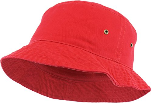 KBM-500 RED L/XL Travel Packable Summer Unisex Bucket Hat for Women and Men