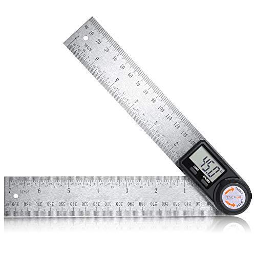 Winkelmesser Digitale Winkelschmiege Lineal 400mm aus Edelstahl mit Feststellfunktion, Messbereich: 000.0°~999.9°, Relative und Absolute Winkelmessung für Holzarbeiten, Heimarbeit-TACKLIFE MDA02