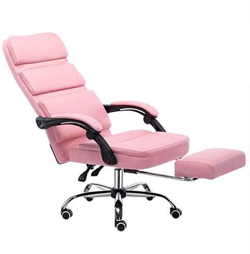 Silla de escritorio para ordenador, silla de oficina ejecutiva, de piel sintética con respaldo alto, silla de oficina ergonómica reclinable, color rosa