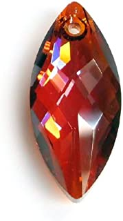 1pc Swarovski Crystal 6110 Navette Red Magma Charm Pendant Bead 30mm / Findings/Crystallized Element