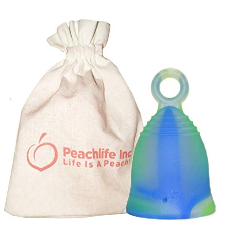Mini - Extra Firm - Menstrual Cup With Ring For Easy Removal - Small 24ml Low Cervix -12 Hour No Spill Pad & Tampon Alternative - FDA Approved Medical Grade Silicone - Teen GREENSWIRLCUP Peachlife Inc