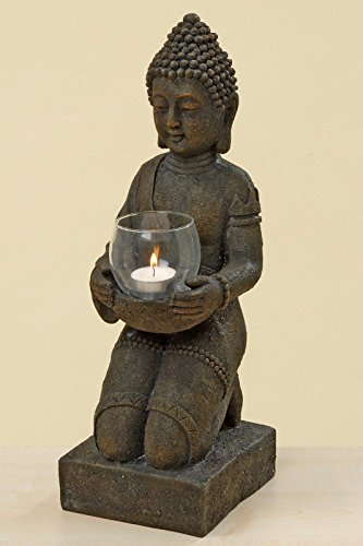BUDDHA Figur knieend mit Windlicht in den Händen ca. 44 cm hoch Kunstharz Dekoration Feng Shui
