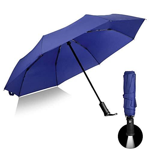 Automatischer Regenschirm mit LED-Griff, reflektierender Wende-Regenschirm Faltbarer Sicherheit, Regen- und UV-Schutz, Winddicht & wasserdicht (Blau)