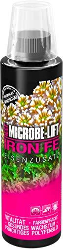 MICROBE-LIFT Iron FE - (Qualitäts-Eisenzusatz für alle Meerwasser Aquarien, mit pH-Stabilisierer, beugt einem Eisenmangel vor, verbessert das Polypenbild und intensiviert die Farbenpracht Ihrer Korallen, steigert das Wachstum von höheren Algen, enthält Eisen in einer hochverfügbaren Form und stabilisiert den pH-Wert in Ihrem Aquarium, Wasseraufbereiter, ausreichend für 23.000 Liter) 236 ml