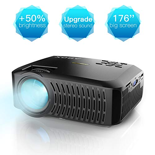 LED Video Mini Proyector Portátil A2, Proyector ABOX Resolución Nativa 1280*720p 3600 Lúmenes, Soporte 1080P Full HD, Compatible con HDMI/VGA/AV/USB/Tarjeta SD/Android/iOS, Negro