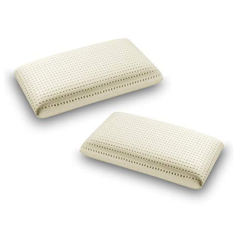 Sleepys Kissen Latex, Natural, 100% 74 x 42 x 12 cm, geschmacksneutral mit Bezug aus 100% natürlichem Jersey, Bezug aus 100% natürlichem Latex, antiallergisch Coppia saponetta -10 Euro di SCONTO