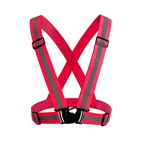 Andux Réglable haute visibilité élastique réfléchissant Gilet de sécurité Ajustement pour la Course, le Jogging,le Vélo,la Marche,la Moto FGBX-01 (Rosa roja)