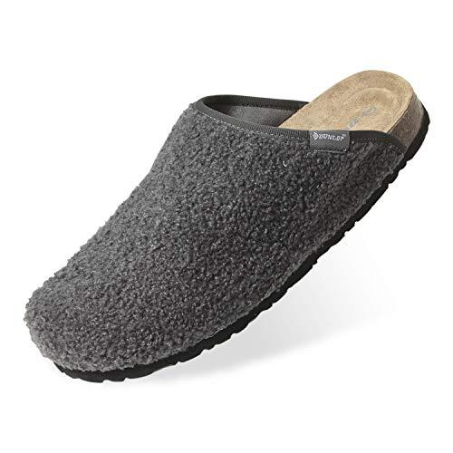 Dunlop Ciabatte Uomo, Pantofole Invernali da Casa, Ciabatta Antiscivolo con Pelliccia E Soletta Memory Foam, Babbucce Calde E Comode, Idea Regalo Compleanno (Grigio Scuro, Numeric_43)