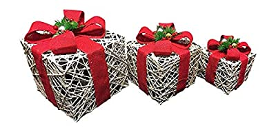 SALE - Large Medium & small White Rattan decoration LED LIT Gift Box decorated with berries and red bows