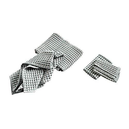 HAY Twist Geschirrtuch und Handtuch 4er Set, eukalyptus 2X 65x38cm 2X 29x29 cm