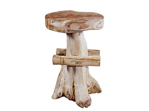 Vintage-Line Vintage-Line Teakholz Barhocker mit feststehender Sitzfläche Teak Holz