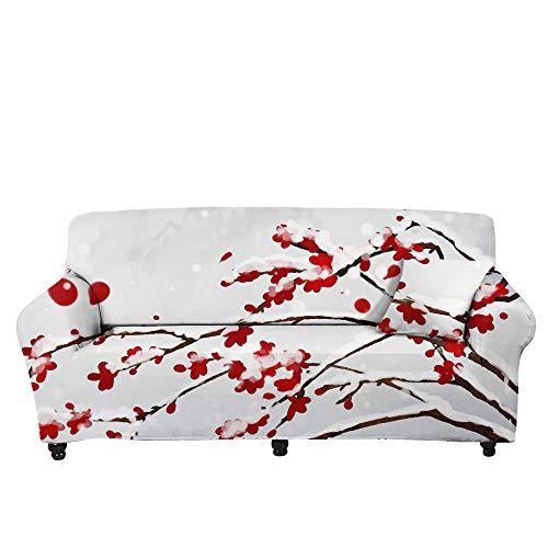 RFEGEF Jacquard Sofabezug,Super Stretch Couch Cover Rote Pflaumendruck Weiße rutschfeste Mikrofaser-Sofabezüge Für Sessel Loveseat Wohnzimmermöbel Protector Friendly, XL: 235.300 cm (91,115 Zoll)