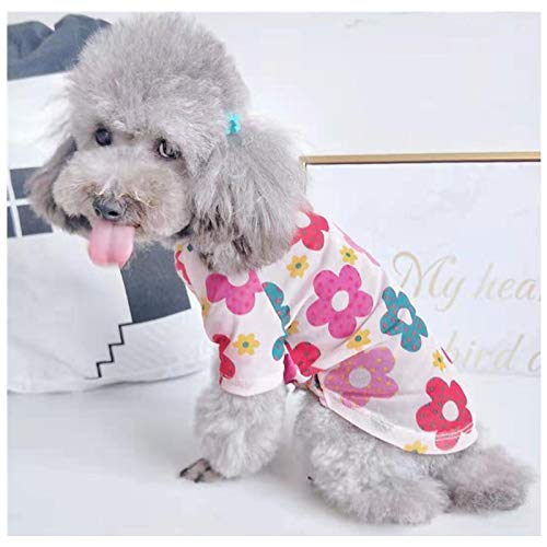Loyanyy Floral Dog T-shirts for Small Dog Cat Retro Cool Mesh Pet Clothes Puppy Shirt for Spring Summer Strerchy Dog Apparel Pink 14