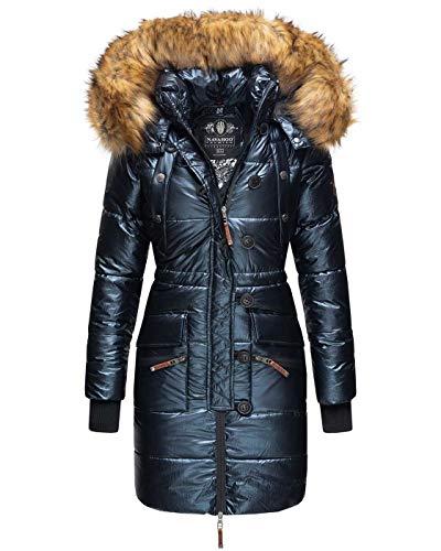 Navahoo Damen Winter Jacke Parka Mantel Winterjacke warm lang Kunstfell B833 [B833-Zucker-Navy-Gr.XL]