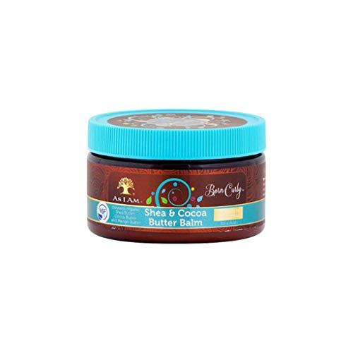 Manteca de Karité y Cacao para cabello y cuerpo. Proporciona suavidad e hidratación al cabello rizado muy seco y difícil. También hidrata la piel. Certificado orgánico.