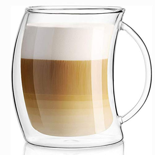 Copa de Pared de Doble Capa Café de Vidrio Resistente al té Taza de Taza aislada Tazas de café Espresso Tazas Caja Fuerte Vino Cerveza Vidrio Vidrio Vidrio,200ml