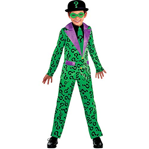 Suit Yourself Classic Riddler Costume for Boys, Batman Villain, Medium (Size 8-10), Includes Jumpsuit, Eye Mask and Hat