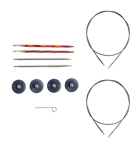 Knit Picks Try It Wood and Metal Interchangeable Knitting Needle Set - US 6 and 7 (Radiant)