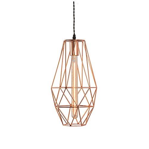 Vintage industriële roze goud piramide metalen kooi plafond hanglamp kroonluchter zwart stof plug-in snoer instelbaar E27 hanglamp Loft Retro rustiek Home Decor